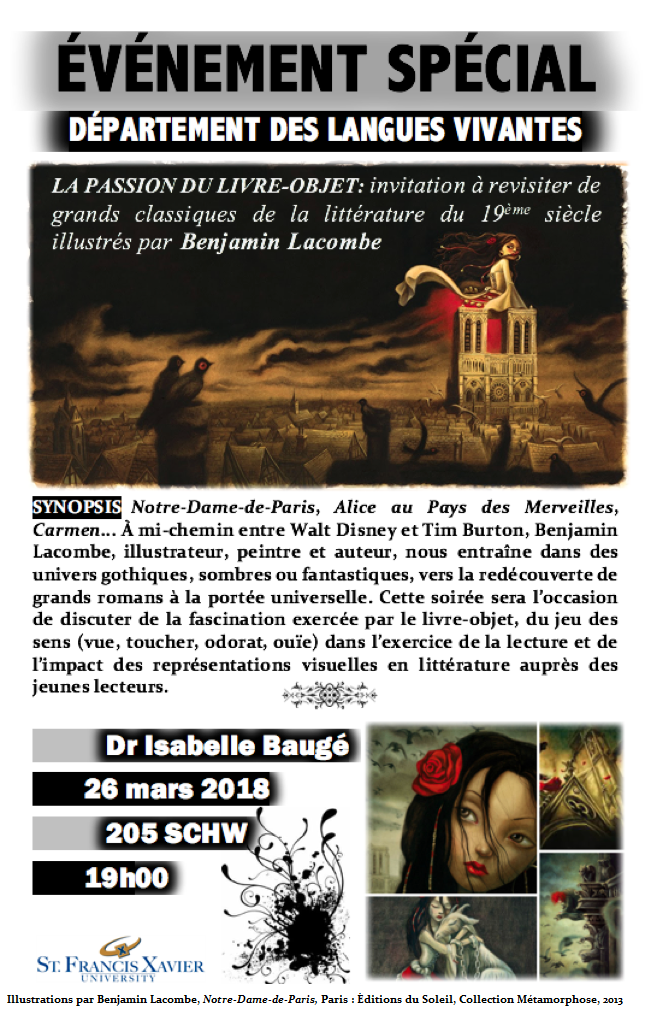 Isabelle Baugé will give a lecture on Notre-Dame-de-Paris, Carmen and Alice in Wonderland illustrated by Benjamin Lacombe