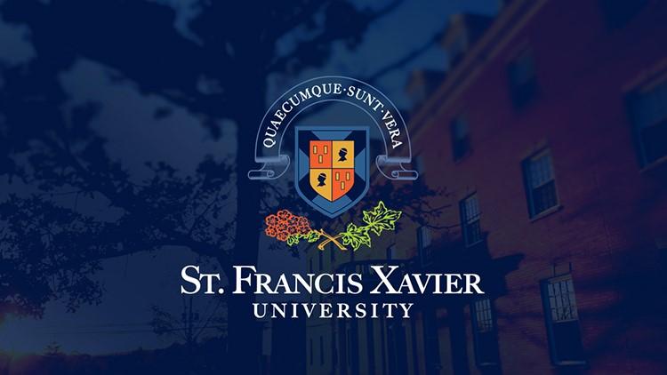 stfx logo on blue background