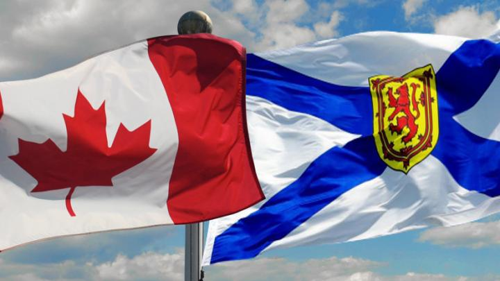 Canadian and Nova Scotian flags