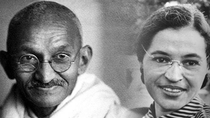 Social Justice leaders - Martin Luther King, Mahatma Gandh, Rosa Parks, Malala Yousafzai
